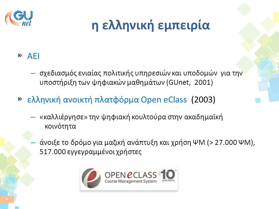 6 η ελληνική εμπειρία AEI – σχεδιασμός ενιαίας πολιτικής υπηρεσιών και υποδομών για την υποστήριξη των ψηφιακών μαθημάτων (GUnet, 2001) ελληνική ανοικ
