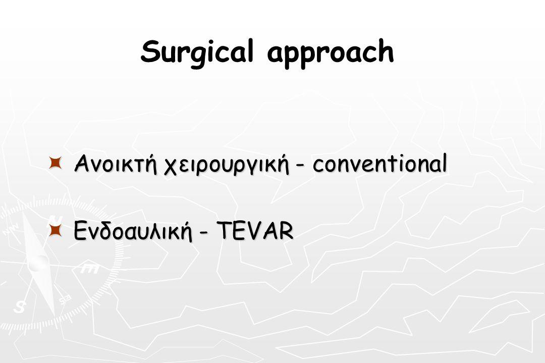 Surgical approach  Ανοικτή χειρουργική - conventional  Ενδοαυλική - TEVAR