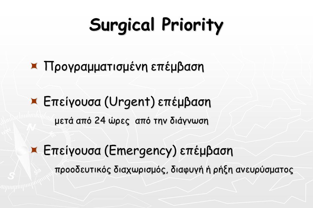 Surgical Priority  Προγραμματισμένη επέμβαση  Επείγουσα (Urgent) επέμβαση μετά από 24 ώρες από την διάγνωση μετά από 24 ώρες από την διάγνωση  Επεί