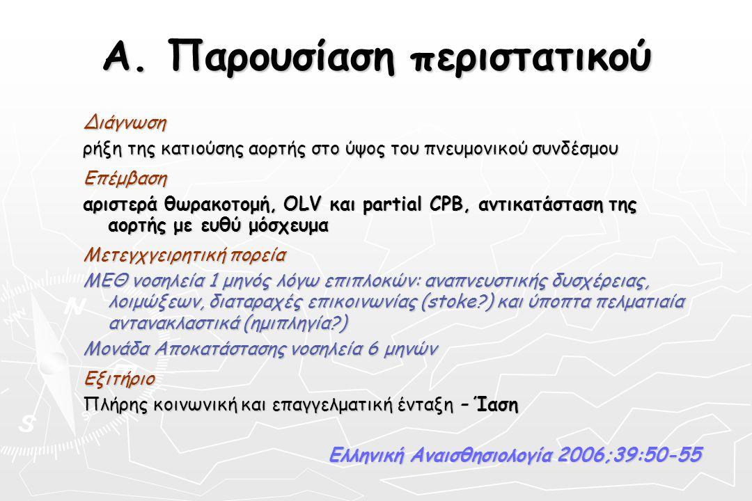 Α. Παρουσίαση περιστατικού Διάγνωση ρήξη της κατιούσης αορτής στο ύψος του πνευμονικού συνδέσμου Επέμβαση αριστερά θωρακοτομή, OLV και partial CPB, αν