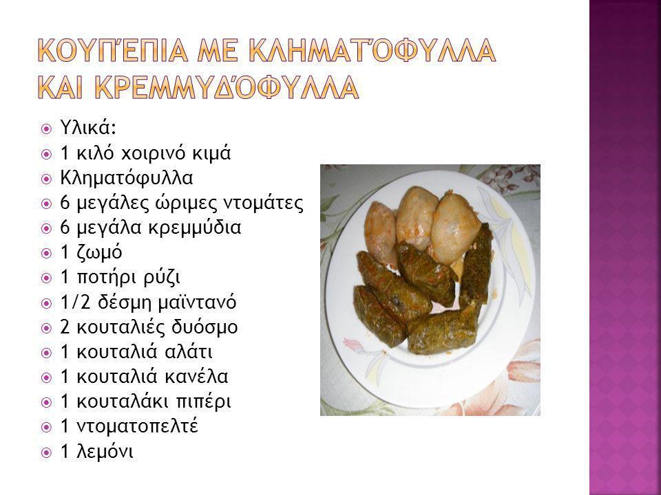  Υλικά:  1 κιλό χοιρινό κιμά  Κληματόφυλλα  6 μεγάλες ώριμες ντομάτες  6 μεγάλα κρεμμύδια  1 ζωμό  1 ποτήρι ρύζι  1/2 δέσμη μαϊντανό  2 κουταλιές δυόσμο  1 κουταλιά αλάτι  1 κουταλιά κανέλα  1 κουταλάκι πιπέρι  1 ντοματοπελτέ  1 λεμόνι