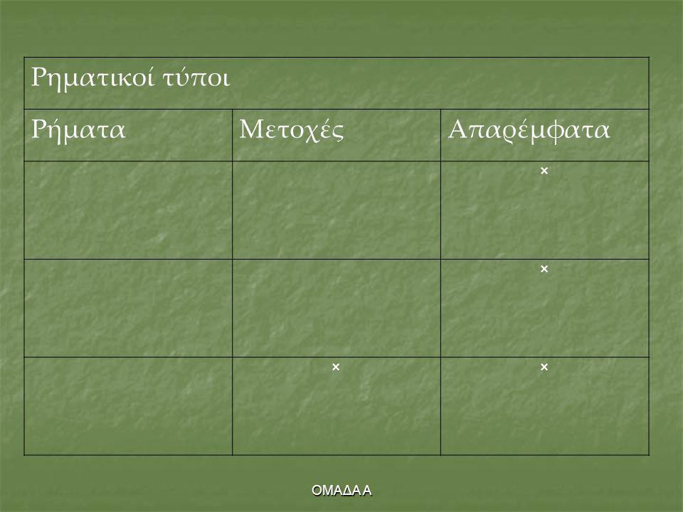 ΟΜΑΔΑ Α Ρηματικοί τύποι ΡήματαΜετοχέςΑπαρέμφατα   