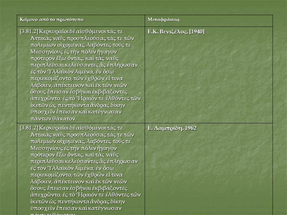 Κείμενο από το πρωτότυπο Μεταφράσεις [3.81.2] Κερκυραῖοι δὲ αἰσθόμενοι τάς τε Ἀττικὰς ναῦς προσπλεούσας τάς τε τῶν πολεμίων οἰχομένας, λαβόντες τούς τ