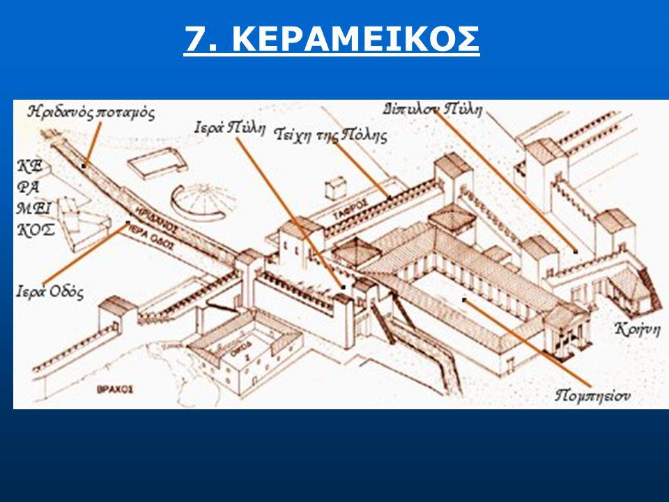 6. ΚΕΡΑΜΕΙΚΟΣ  Η επιδρομή του Σύλλα το 86 π.Χ. κατέστρεψε όλη την περιοχή του Κεραμεικού, καθώς αναφέρεται ότι παραβίασε την οχύρωση σε αυτό ακριβώς