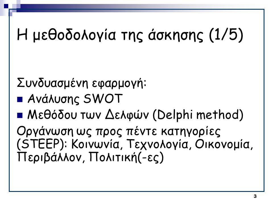3 Η μεθοδολογία της άσκησης (1/5) Συνδυασμένη εφαρμογή:  Ανάλυσης SWOT  Μεθόδου των Δελφών (Delphi method) Οργάνωση ως προς πέντε κατηγορίες (STEEP): Κοινωνία, Τεχνολογία, Οικονομία, Περιβάλλον, Πολιτική(-ες)