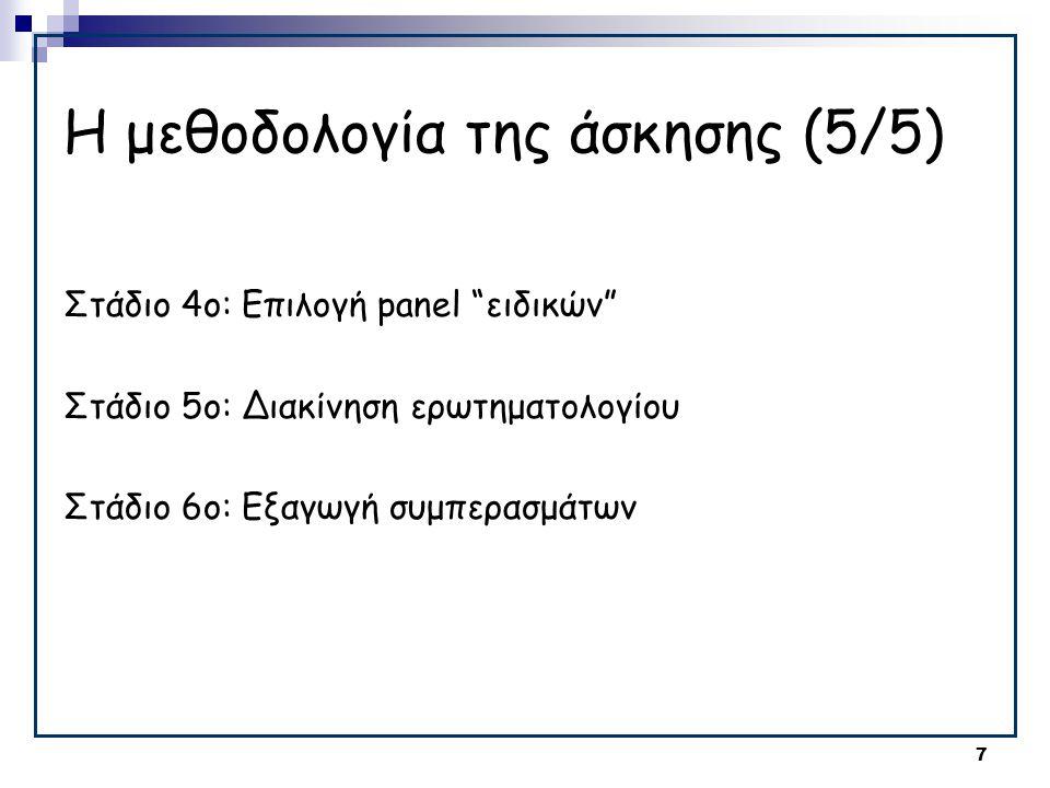 """7 Η μεθοδολογία της άσκησης (5/5) Στάδιο 4ο: Επιλογή panel """"ειδικών"""" Στάδιο 5ο: Διακίνηση ερωτηματολογίου Στάδιο 6ο: Εξαγωγή συμπερασμάτων"""