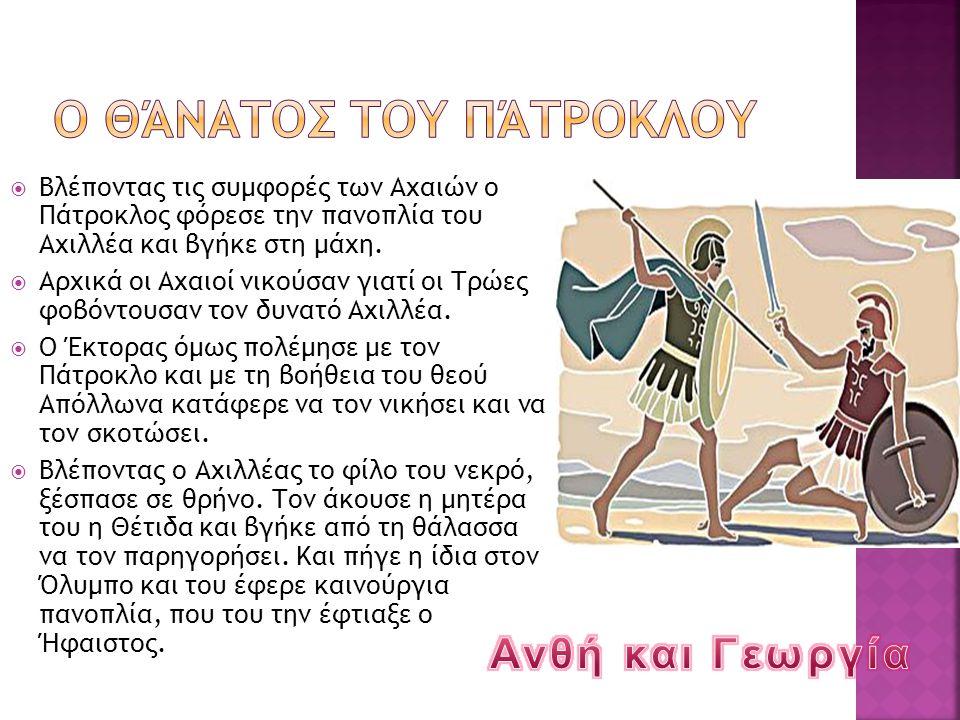  Βλέποντας τις συμφορές των Αχαιών ο Πάτροκλος φόρεσε την πανοπλία του Αχιλλέα και βγήκε στη μάχη.  Αρχικά οι Αχαιοί νικούσαν γιατί οι Τρώες φοβόντο