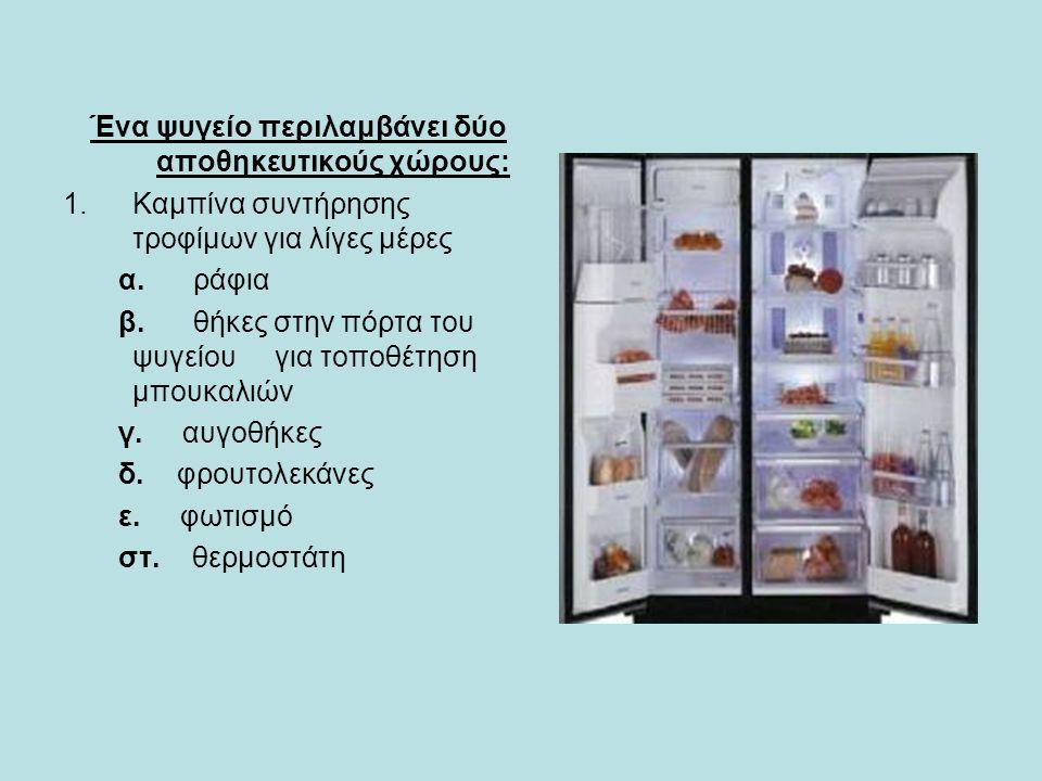 Ένα ψυγείο περιλαμβάνει δύο αποθηκευτικούς χώρους: 1.Καμπίνα συντήρησης τροφίμων για λίγες μέρες α.