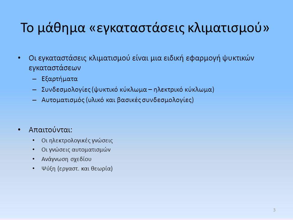 Το μάθημα «εγκαταστάσεις κλιματισμού» • Οι εγκαταστάσεις κλιματισμού είναι μια ειδική εφαρμογή ψυκτικών εγκαταστάσεων – Εξαρτήματα – Συνδεσμολογίες (ψ