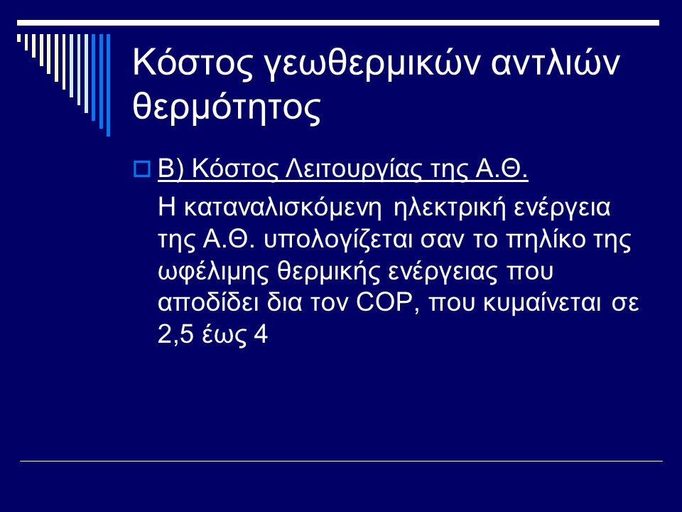 Κόστος γεωθερμικών αντλιών θερμότητος  Β) Κόστος Λειτουργίας της Α.Θ. Η καταναλισκόμενη ηλεκτρική ενέργεια της Α.Θ. υπολογίζεται σαν το πηλίκο της ωφ