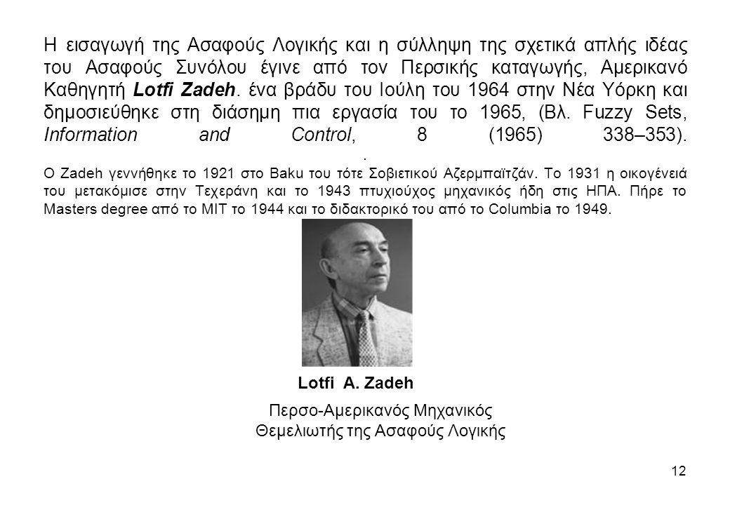 Η εισαγωγή της Ασαφούς Λογικής και η σύλληψη της σχετικά απλής ιδέας του Ασαφούς Συνόλου έγινε από τον Περσικής καταγωγής, Αμερικανό Καθηγητή Lotfi Za