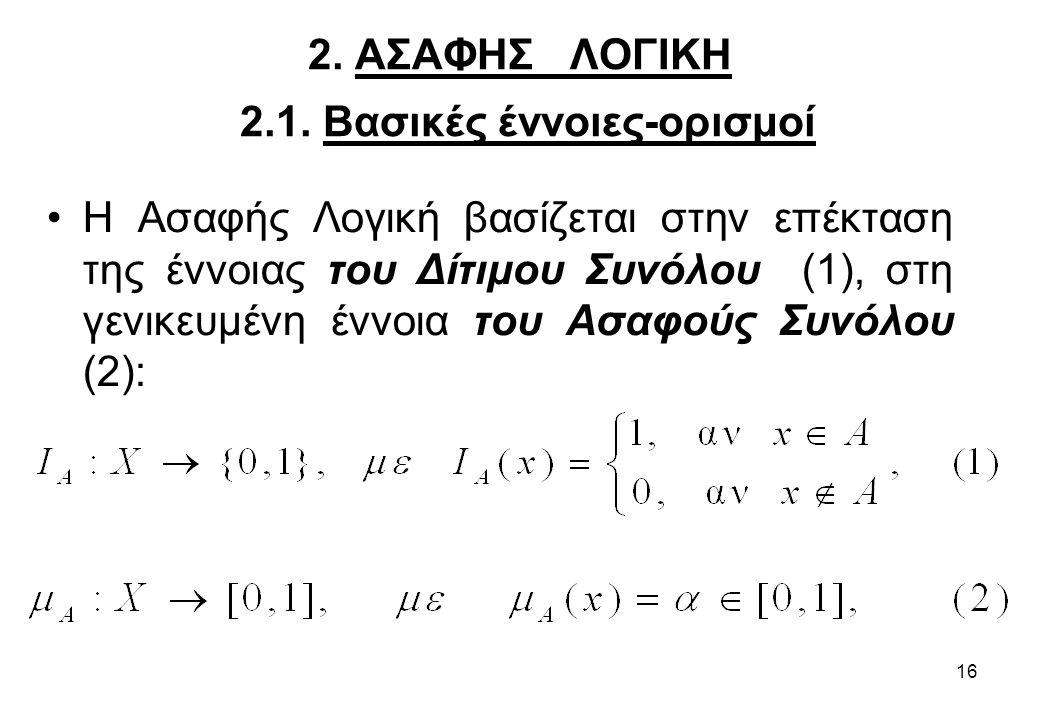 16 2. ΑΣΑΦΗΣ ΛΟΓΙΚΗ 2.1. Βασικές έννοιες-ορισμοί •Η Ασαφής Λογική βασίζεται στην επέκταση της έννοιας του Δίτιμου Συνόλου (1), στη γενικευμένη έννοια