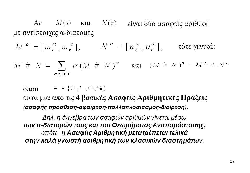 27 Αν και με αντίστοιχες α-διατομές, και τότε γενικά: όπου είναι δύο ασαφείς αριθμοί είναι μια από τις 4 βασικές Ασαφείς Αριθμητικές Πράξεις (ασαφής π