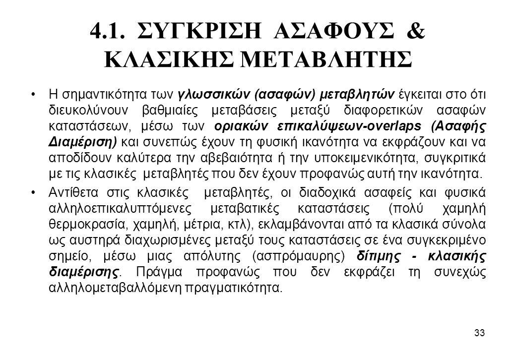 4.1. ΣΥΓΚΡΙΣΗ ΑΣΑΦΟΥΣ & ΚΛΑΣΙΚΗΣ ΜΕΤΑΒΛΗΤΗΣ •Η σημαντικότητα των γλωσσικών (ασαφών) μεταβλητών έγκειται στο ότι διευκολύνουν βαθμιαίες μεταβάσεις μετα