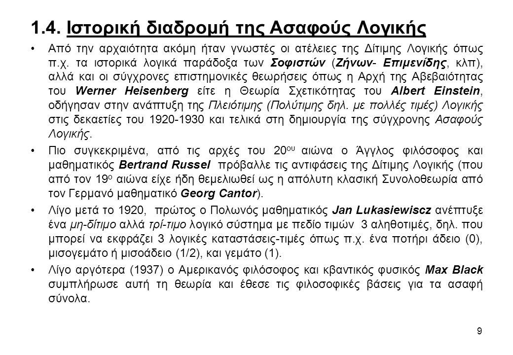 • Τελικά το 1965, ο Lotfi Zadeh (Αμερικανός μηχανικός, Ρωσο-περσικής καταγωγής, Καθηγητής του Παν/μίου Berkeley της Καλιφόρνιας), δημοσίευσε την εμπνευσμένη εργασία του με τίτλο Fuzzy Sets-Ασαφή Σύνολα , όπου εισήγαγε για πρώτη φορά την έννοια του Ασαφούς Συνόλου με πεδίο αληθοτιμών το απειροδιάστημα [0,1] και τον όρο fuzzy στη διεθνή βιβλιογραφία, ανοίγοντας παράλληλα το δρόμο και για τις πρακτικές εφαρμογές της (αρχικά στη ψυχολογία, κοινωνιολογία, φιλοσοφία, κτλ).