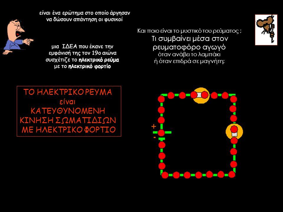 Και ποιο είναι το μυστικό του ρεύματος ; Τι συμβαίνει μέσα στον ρευματοφόρο αγωγό όταν ανάβει το λαμπάκι ή όταν επιδρά σε μαγνήτη; είναι ένα ερώτημα σ