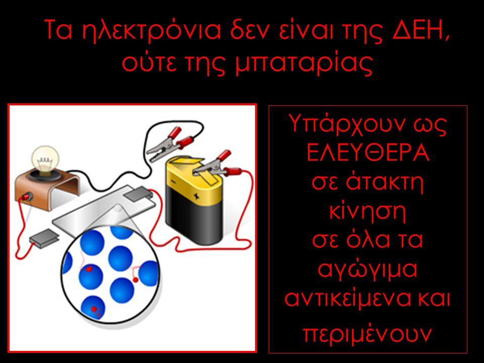 Υπάρχουν ως ΕΛΕΥΘΕΡΑ σε άτακτη κίνηση σε όλα τα αγώγιμα αντικείμενα και περιμένουν Τα ηλεκτρόνια δεν είναι της ΔΕΗ, ούτε της μπαταρίας