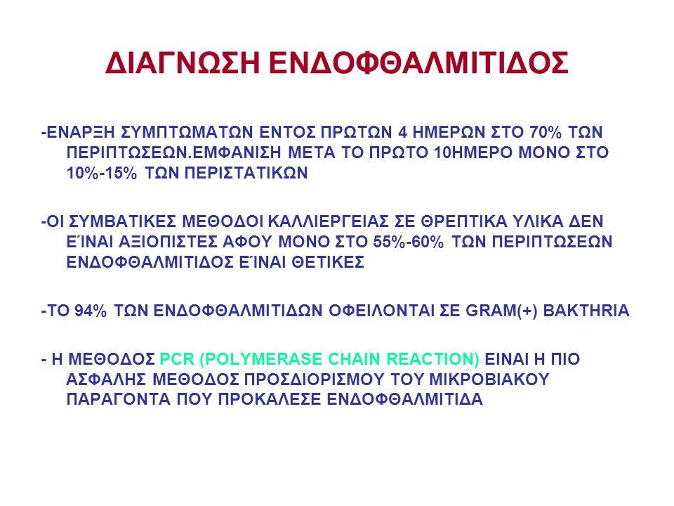 ΔΙΑΓΝΩΣΗ ΕΝΔΟΦΘΑΛΜΙΤΙΔΟΣ -ΕΝΑΡΞΗ ΣΥΜΠΤΩΜΑΤΩΝ ΕΝΤΟΣ ΠΡΩΤΩΝ 4 ΗΜΕΡΩΝ ΣΤΟ 70% ΤΩΝ ΠΕΡΙΠΤΩΣΕΩΝ.ΕΜΦΑΝΙΣΗ ΜΕΤΑ ΤΟ ΠΡΩΤΟ 10ΗΜΕΡΟ ΜΟΝΟ ΣΤΟ 10%-15% ΤΩΝ ΠΕΡΙΣΤΑ
