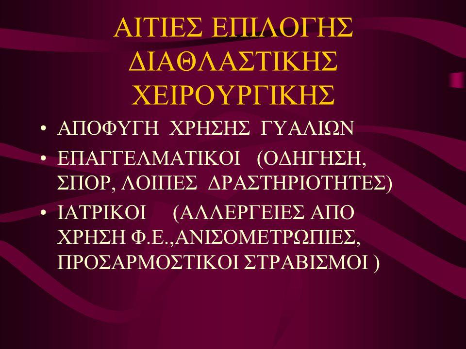 ΑΙΤΙΕΣ ΕΠΙΛΟΓΗΣ ΔΙΑΘΛΑΣΤΙΚΗΣ ΧΕΙΡΟΥΡΓΙΚΗΣ •ΑΠΟΦΥΓΗ ΧΡΗΣΗΣ ΓΥΑΛΙΩΝ •ΕΠΑΓΓΕΛΜΑΤΙΚΟΙ (ΟΔΗΓΗΣΗ, ΣΠΟΡ, ΛΟΙΠΕΣ ΔΡΑΣΤΗΡΙΟΤΗΤΕΣ) •ΙΑΤΡΙΚΟΙ (ΑΛΛΕΡΓΕΙΕΣ ΑΠΟ ΧΡΗ