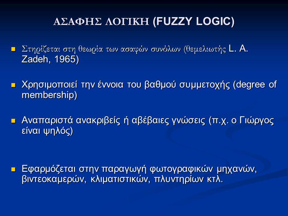 ΑΣΑΦΗΣ ΛΟΓΙΚΗ (FUZZY LOGIC)  Στηρίζεται στη θεωρία των ασαφών συνόλων (θεμελιωτής L. A. Zadeh, 1965)  Χρησιμοποιεί την έννοια του βαθμού συµµετοχής