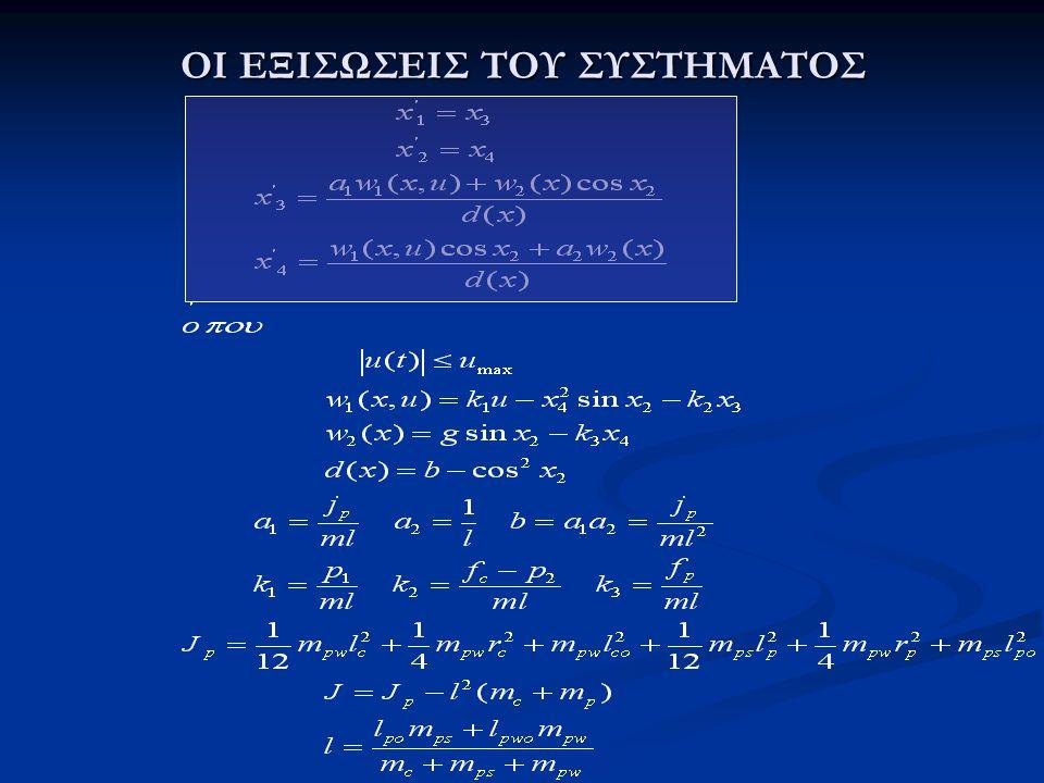 OI ΠΑΡΑΜΕΤΡΟΙ ΤΟΥ ΣΥΣΤΗΜΑΤΟΣ  m pw : μάζα του φορτίου [kg]  m ps : μάζα του πόλου [kg]  l p : μήκος του πόλου [m]  l po : απόσταση μεταξύ του κέντρου της μάζας του πόλου και του άξονα περιστροφής [m]  l pwo : απόσταση μεταξύ του κέντρου της μάζας του φορτίου και της περιστροφής του άξονα του εκκρεμούς [m].