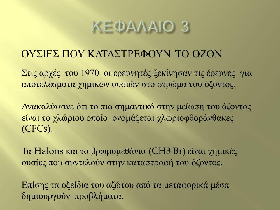 ΟΥΣΙΕΣ ΠΟΥ ΚΑΤΑΣΤΡΕΦΟΥΝ ΤΟ ΟΖΟΝ Στις αρχές του 1970 οι ερευνητές ξεκίνησαν τις έρευνες για αποτελέσματα χημικών ουσιών στο στρώμα του όζοντος. Ανακαλύ