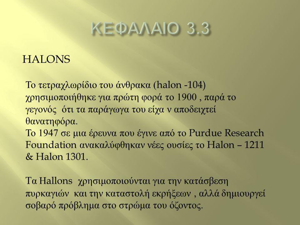 HALONS Το τετραχλωρίδιο του άνθρακα (halon -104) χρησιμοποιήθηκε για πρώτη φορά το 1900, παρά το γεγονός ότι τα παράγωγα του είχα ν αποδειχτεί θανατηφ