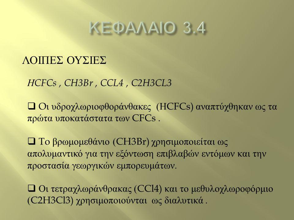 ΛΟΙΠΕΣ ΟΥΣΙΕΣ Η CFCs, CH3Br, CCL4, C2H3CL3  O ι υδροχλωριοφθοράνθακες ( Η CFCs) αναπτύχθηκαν ως τα πρώτα υποκατάστατα των CFCs.  To βρωμομεθάνιο (CH