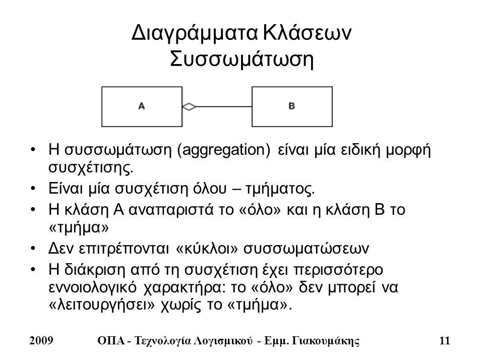 2009ΟΠΑ - Τεχνολογία Λογισμικού - Εμμ. Γιακουμάκης 11 Διαγράμματα Κλάσεων Συσσωμάτωση •Η συσσωμάτωση (aggregation) είναι μία ειδική μορφή συσχέτισης.