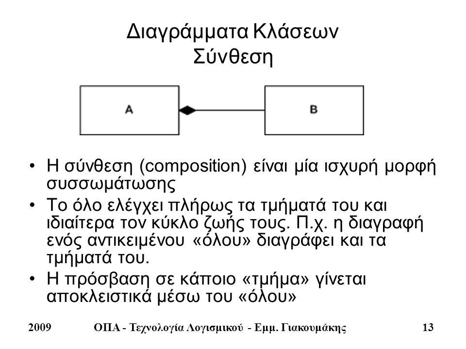 2009ΟΠΑ - Τεχνολογία Λογισμικού - Εμμ. Γιακουμάκης 13 Διαγράμματα Κλάσεων Σύνθεση •Η σύνθεση (composition) είναι μία ισχυρή μορφή συσσωμάτωσης •Το όλο