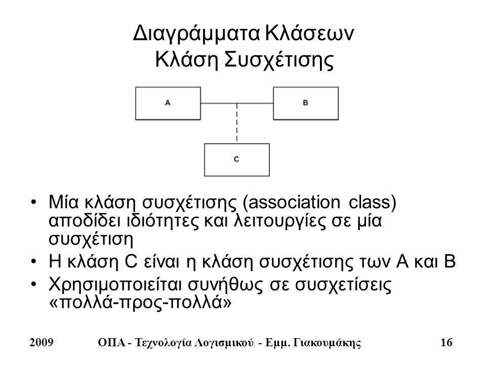 2009ΟΠΑ - Τεχνολογία Λογισμικού - Εμμ. Γιακουμάκης 16 Διαγράμματα Κλάσεων Κλάση Συσχέτισης •Μία κλάση συσχέτισης (association class) αποδίδει ιδιότητε