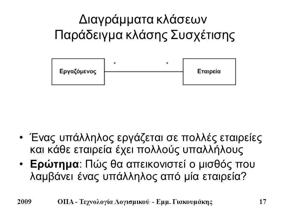 2009ΟΠΑ - Τεχνολογία Λογισμικού - Εμμ. Γιακουμάκης 17 Διαγράμματα κλάσεων Παράδειγμα κλάσης Συσχέτισης •Ένας υπάλληλος εργάζεται σε πολλές εταιρείες κ