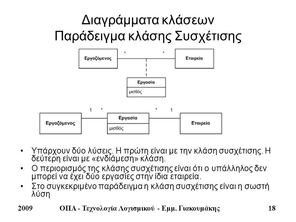 2009ΟΠΑ - Τεχνολογία Λογισμικού - Εμμ. Γιακουμάκης 18 Διαγράμματα κλάσεων Παράδειγμα κλάσης Συσχέτισης •Υπάρχουν δύο λύσεις. Η πρώτη είναι με την κλάσ