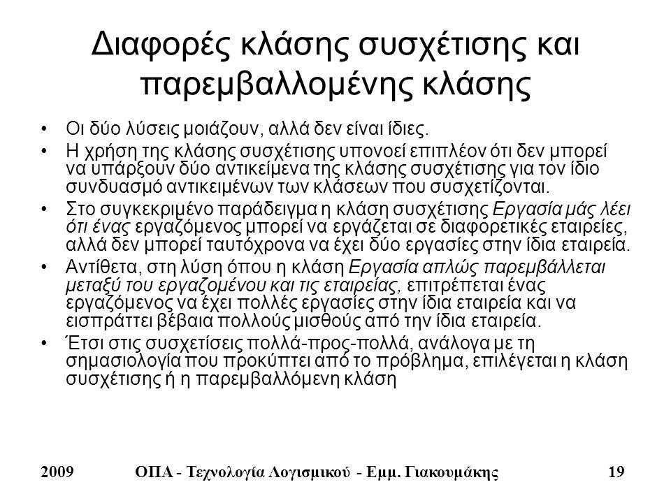 2009ΟΠΑ - Τεχνολογία Λογισμικού - Εμμ. Γιακουμάκης 19 Διαφορές κλάσης συσχέτισης και παρεμβαλλομένης κλάσης •Οι δύο λύσεις μοιάζουν, αλλά δεν είναι ίδ