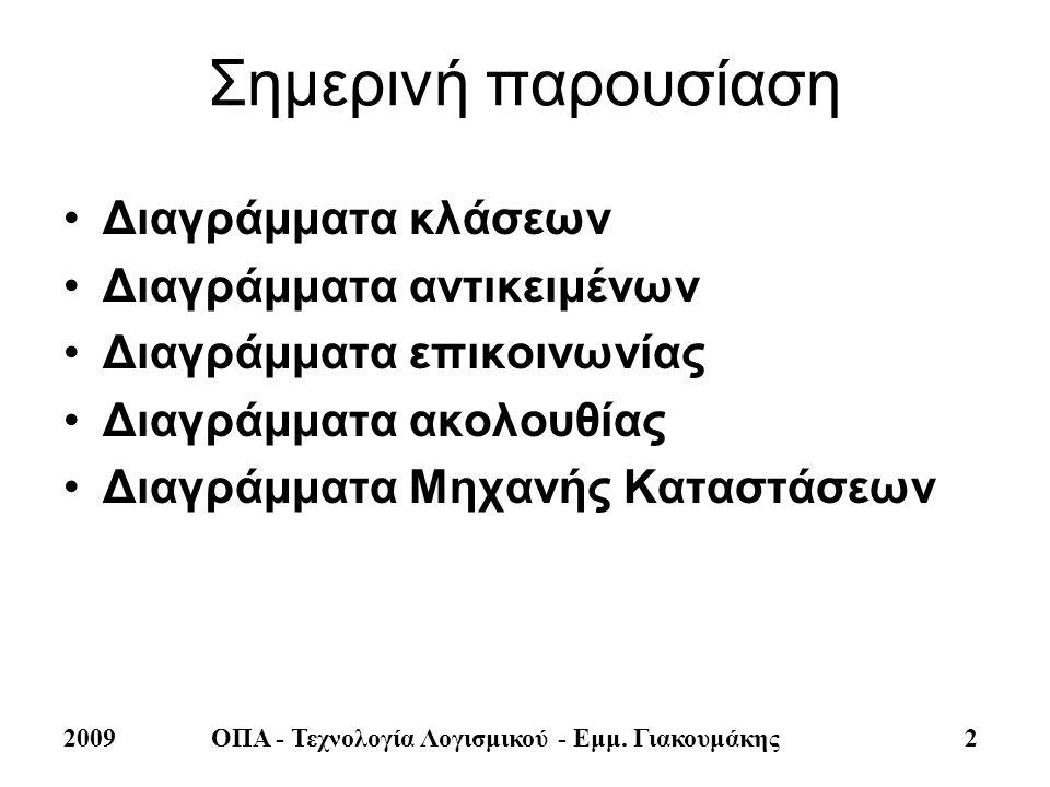2009ΟΠΑ - Τεχνολογία Λογισμικού - Εμμ. Γιακουμάκης 2 Σημερινή παρουσίαση •Διαγράμματα κλάσεων •Διαγράμματα αντικειμένων •Διαγράμματα επικοινωνίας •Δια