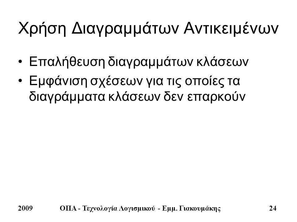 2009ΟΠΑ - Τεχνολογία Λογισμικού - Εμμ. Γιακουμάκης 24 Χρήση Διαγραμμάτων Αντικειμένων •Επαλήθευση διαγραμμάτων κλάσεων •Εμφάνιση σχέσεων για τις οποίε