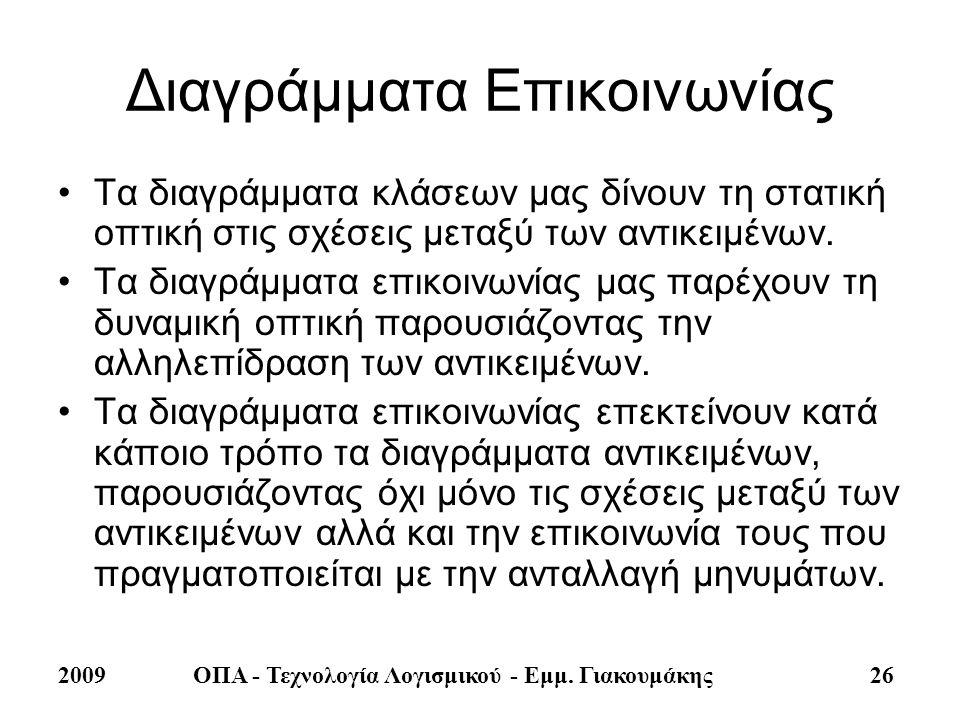 2009ΟΠΑ - Τεχνολογία Λογισμικού - Εμμ. Γιακουμάκης 26 Διαγράμματα Επικοινωνίας •Τα διαγράμματα κλάσεων μας δίνουν τη στατική οπτική στις σχέσεις μεταξ
