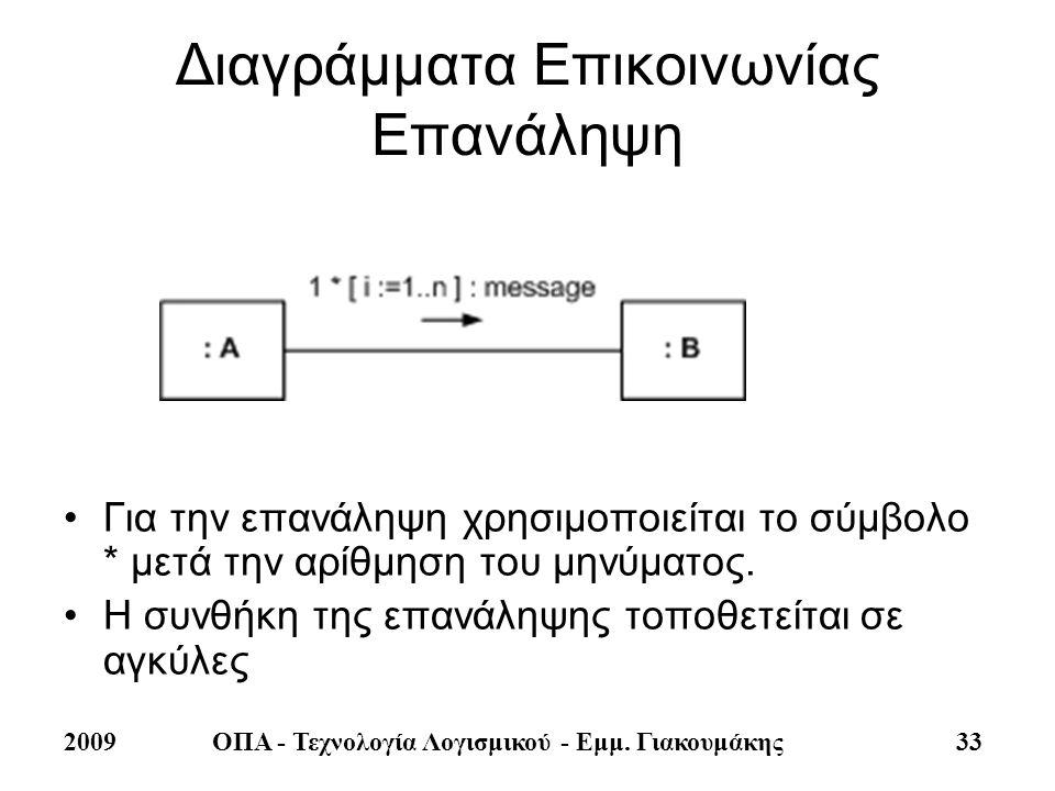 2009ΟΠΑ - Τεχνολογία Λογισμικού - Εμμ. Γιακουμάκης 33 Διαγράμματα Επικοινωνίας Επανάληψη •Για την επανάληψη χρησιμοποιείται το σύμβολο * μετά την αρίθ