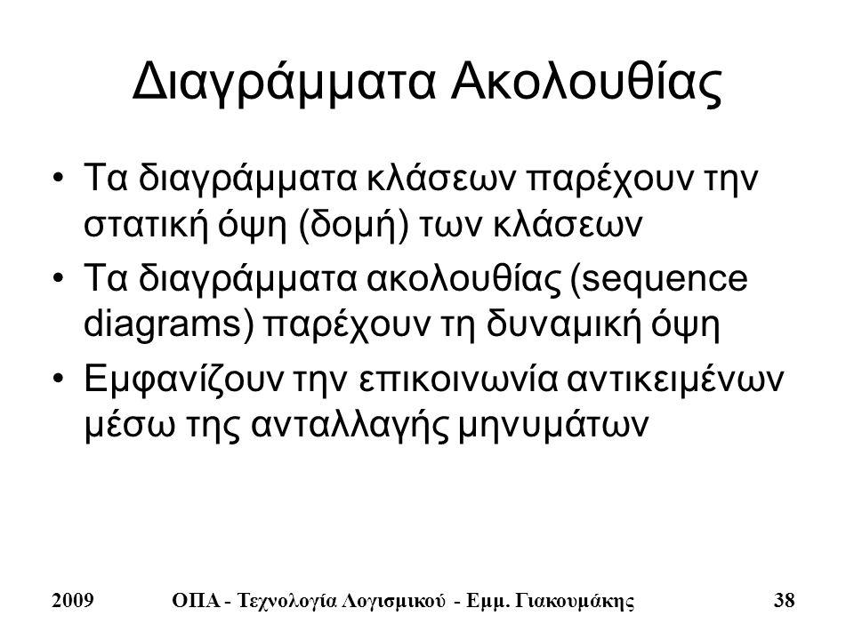 2009ΟΠΑ - Τεχνολογία Λογισμικού - Εμμ. Γιακουμάκης 38 Διαγράμματα Ακολουθίας •Τα διαγράμματα κλάσεων παρέχουν την στατική όψη (δομή) των κλάσεων •Τα δ
