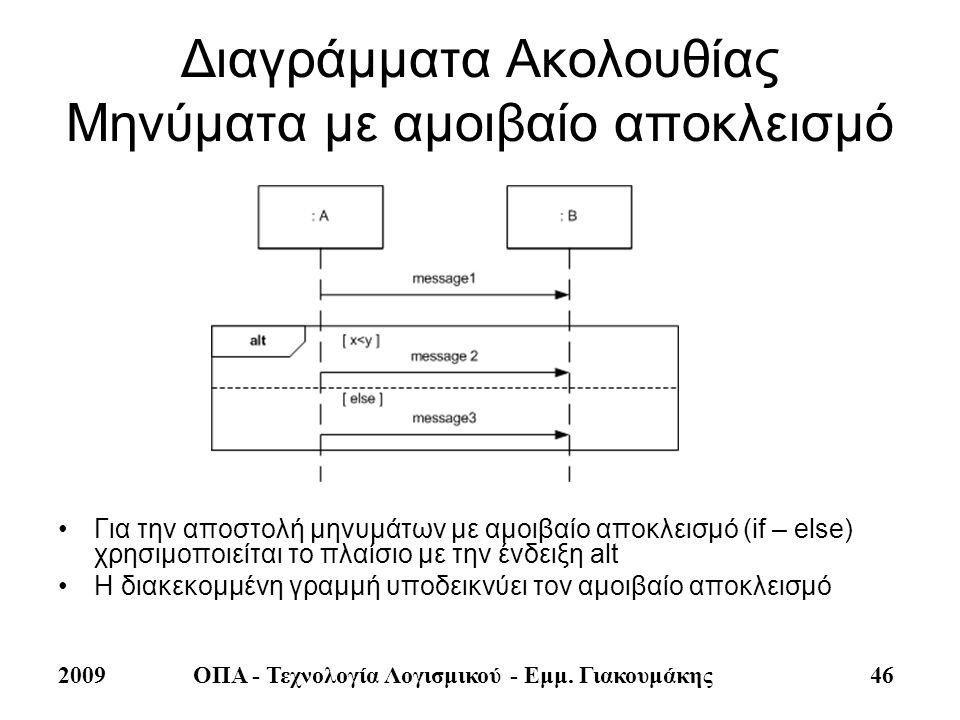 2009ΟΠΑ - Τεχνολογία Λογισμικού - Εμμ. Γιακουμάκης 46 Διαγράμματα Ακολουθίας Μηνύματα με αμοιβαίο αποκλεισμό •Για την αποστολή μηνυμάτων με αμοιβαίο α