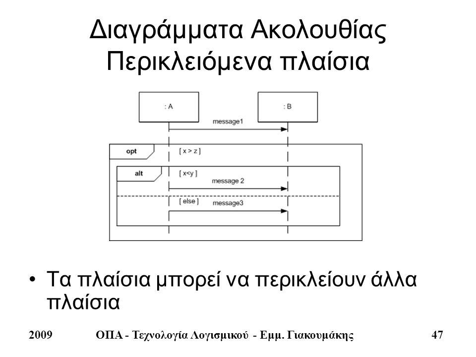 2009ΟΠΑ - Τεχνολογία Λογισμικού - Εμμ. Γιακουμάκης 47 Διαγράμματα Ακολουθίας Περικλειόμενα πλαίσια •Τα πλαίσια μπορεί να περικλείουν άλλα πλαίσια
