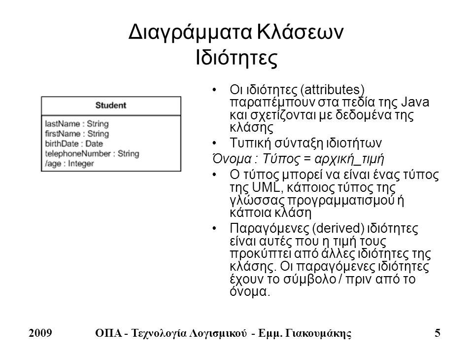 2009ΟΠΑ - Τεχνολογία Λογισμικού - Εμμ. Γιακουμάκης 5 Διαγράμματα Κλάσεων Ιδιότητες •Οι ιδιότητες (attributes) παραπέμπουν στα πεδία της Java και σχετί