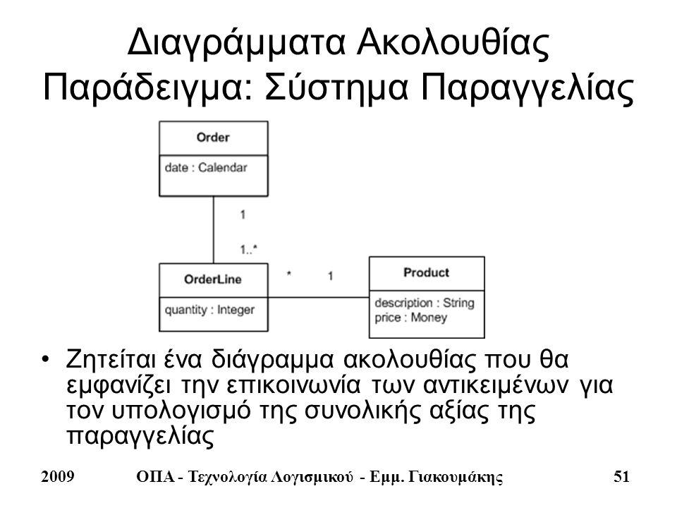 2009ΟΠΑ - Τεχνολογία Λογισμικού - Εμμ. Γιακουμάκης 51 Διαγράμματα Ακολουθίας Παράδειγμα: Σύστημα Παραγγελίας •Ζητείται ένα διάγραμμα ακολουθίας που θα