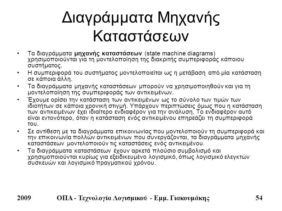 2009ΟΠΑ - Τεχνολογία Λογισμικού - Εμμ. Γιακουμάκης 54 Διαγράμματα Μηχανής Καταστάσεων •Τα διαγράμματα μηχανής καταστάσεων (state machine diagrams) χρη
