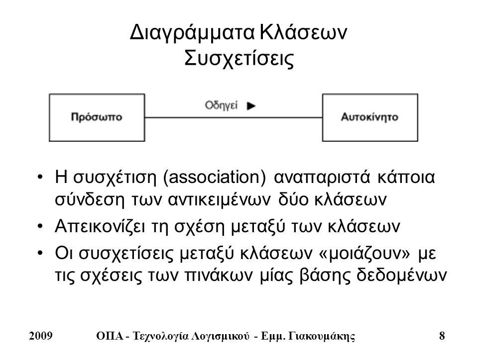 2009ΟΠΑ - Τεχνολογία Λογισμικού - Εμμ. Γιακουμάκης 8 Διαγράμματα Κλάσεων Συσχετίσεις •Η συσχέτιση (association) αναπαριστά κάποια σύνδεση των αντικειμ