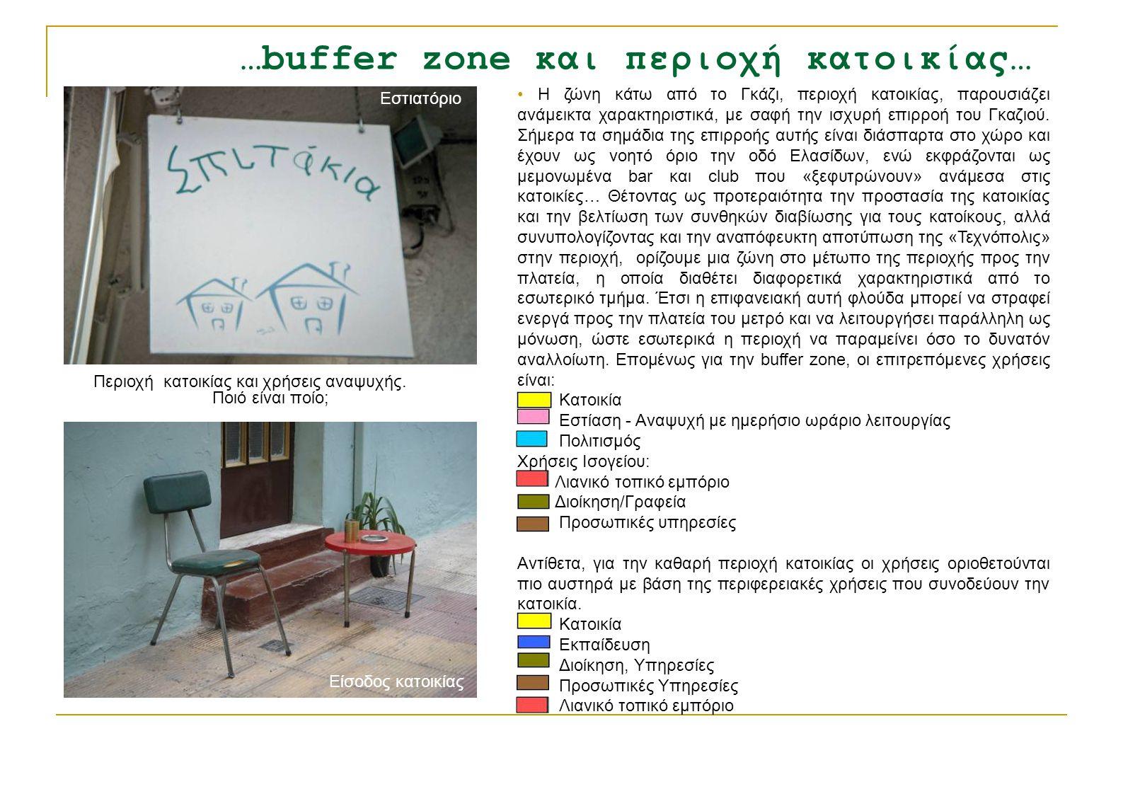 …buffer zone και περιοχή κατοικίας… • Η ζώνη κάτω από το Γκάζι, περιοχή κατοικίας, παρουσιάζει ανάμεικτα χαρακτηριστικά, με σαφή την ισχυρή επιρροή το
