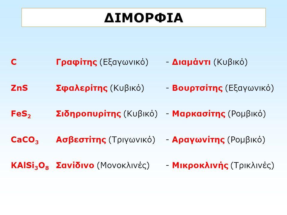 ΔΙΜΟΡΦΙΑ CΓραφίτης (Εξαγωνικό)- Διαμάντι (Κυβικό) ZnSΣφαλερίτης (Κυβικό) - Βουρτσίτης (Εξαγωνικό) FeS 2 Σιδηροπυρίτης (Κυβικό) - Μαρκασίτης (Ρομβικό)