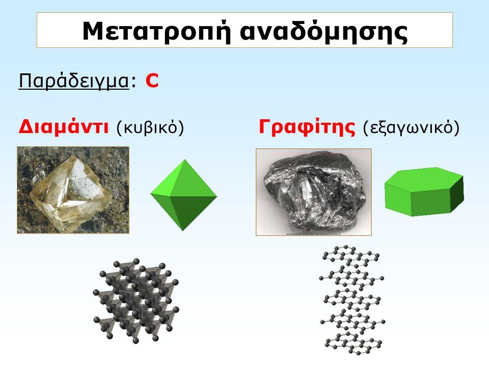 Παράδειγμα: C Διαμάντι (κυβικό) Γραφίτης (εξαγωνικό) Μετατροπή αναδόμησης