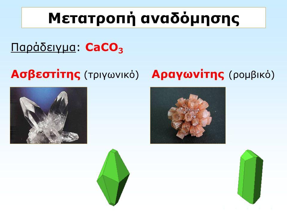 Παράδειγμα: CaCO 3 Ασβεστίτης (τριγωνικό) Αραγωνίτης (ρομβικό) Μετατροπή αναδόμησης