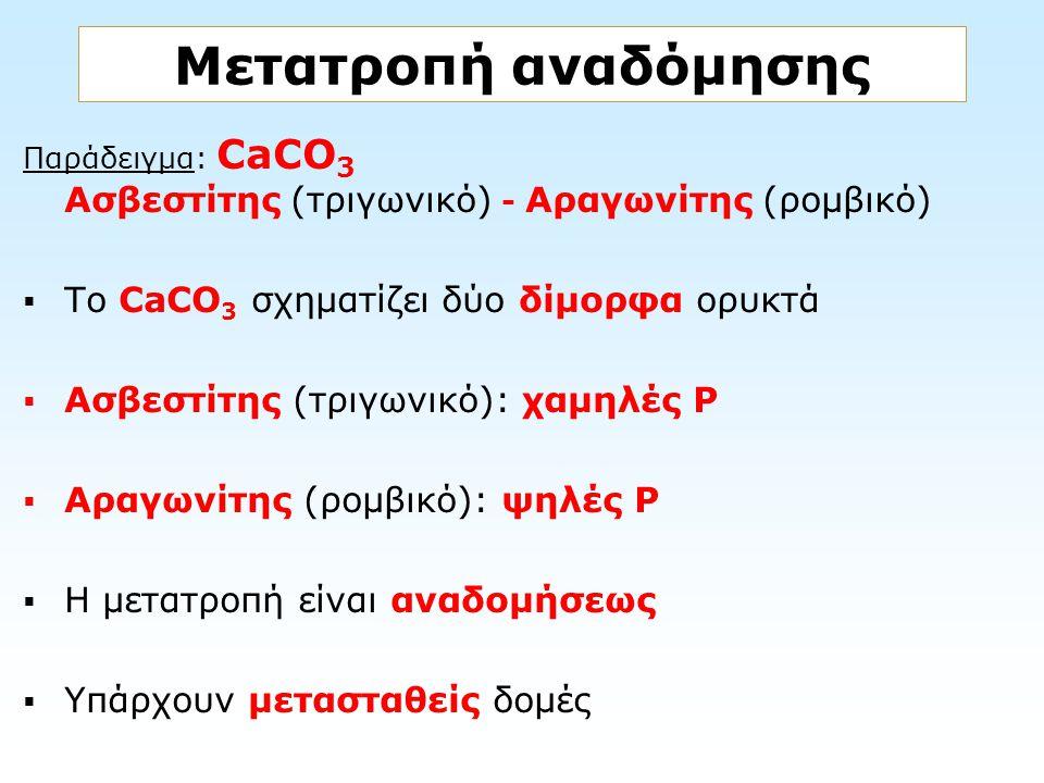 Παράδειγμα: CaCO 3 Ασβεστίτης (τριγωνικό) - Αραγωνίτης (ρομβικό)  Το CaCO 3 σχηματίζει δύο δίμορφα ορυκτά  Ασβεστίτης (τριγωνικό): χαμηλές Ρ  Αραγω